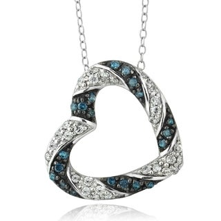 DB Designs Sterling Silver 1/2ct TDW Blue and White Diamond Heart Necklace (I-J, I2-I3)