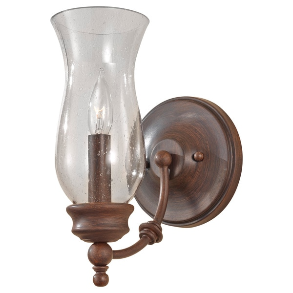Pickering Lane Collection Heritage Bronze Single-light Wall Bracket with Clear Seeded Glass Shade