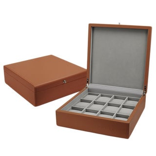 Android 12-Slot Tan Leatherette Collector Watch Box