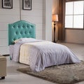Classic Aruba Blue Faux Leather Twin-size Button Tufted Headboard
