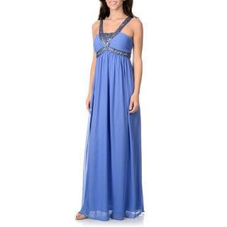 Decode 1.8 Women's Periwinkle Beaded Empire Waist Gown