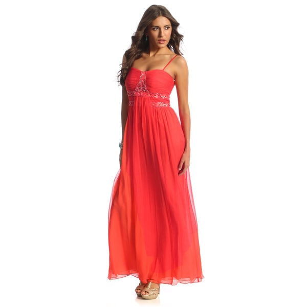 Decode 1.8 Women's Coral Beaded Trim Gown