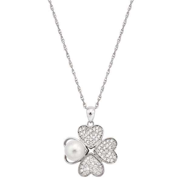 Pearlyta Sterling Silver Heart Shaped CZ and Pearl Flower Pendant Necklace 8-9mm