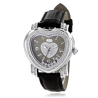 Luxurman Women's 1/3ct TDW Diamond Heart Black Mother of Pearl Watch with Metal Band and Extra Leather Straps