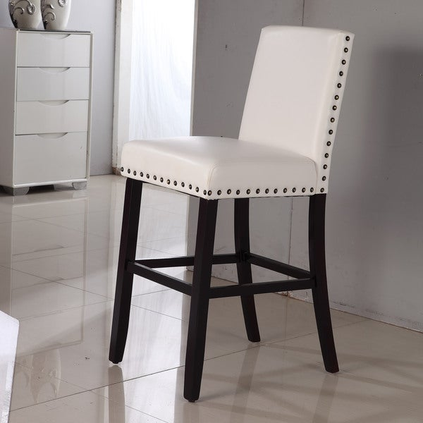luxury creamy white faux leather nail head bar stool 16012628 shopping great. Black Bedroom Furniture Sets. Home Design Ideas