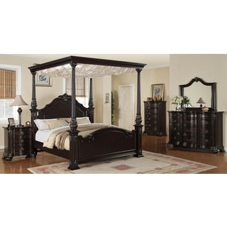 Jensen Deep Merlot 5-piece Canopy Bedroom Set