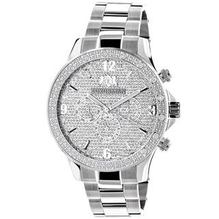 Luxurman 1/5ct TDW Diamond Men's Stainless Steel Chronograph Watch Metal Band plus Extra Leather Straps