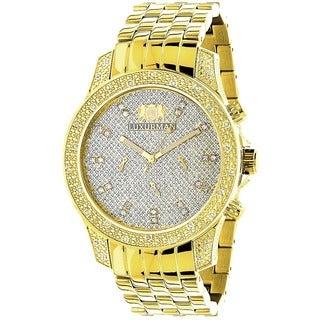 Luxurman 1/2ct TDW Diamond Men's Yellow Goldtone Watch