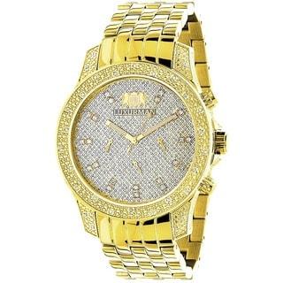 Luxurman 1/2ct TDW Diamond Men's Yellow Goldtone Watch Metal Band plus Extra Leather Straps