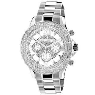 Luxurman 1/5ct TDW Men's Diamond Mother of Pearl Watch