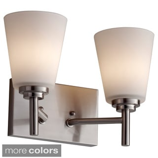 White Opal Etched Glass 2-light Vanity Fixture