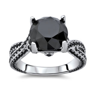 Noori 14k Gold 5 3/8ct TDW Certified Round Black Diamond Ring