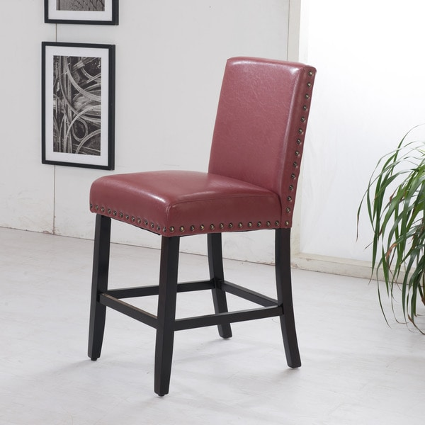 Luxury Dark Red Faux Leather Nailhead Trim Bar Stool