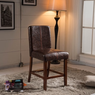 Luxury Espresso Leather Weave Decor Bar Stool