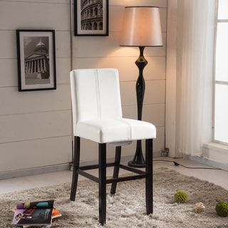 Luxury Creamy White Faux Leather Weave Decor Bar Stool