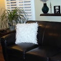 Bellagio 20-inch Square White Shaggy Decorative Throw Pillow