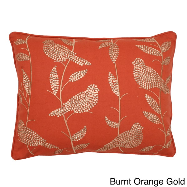 Jenna Sequin Bird and Leaves Feather Filled Pillow