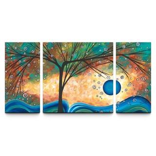 Megan Aroon Duncanson 'Summer Blooms' 30x60-inch Textured Canvas Triptych Art Print