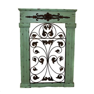 Casa Cortes Secret Garden Seafoam Green Antiqued Metal/ Wood Wall Art