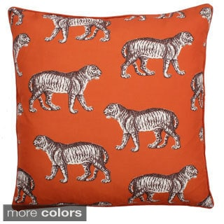 20-inch Square Tiger Reversible Feather Filled Throw Pillow