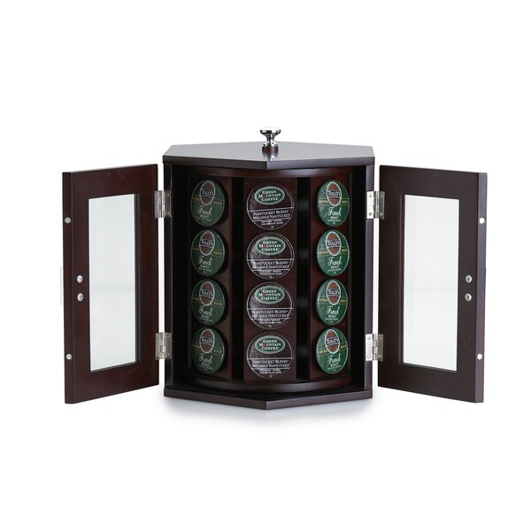 Wallace Dark Walnut Rotating Coffee Pod Cabinet