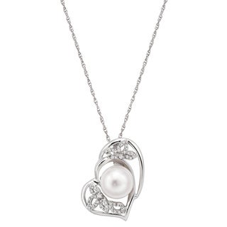 Pearlyta Sterling Silver Freshwater Pearl and Cubic Zirconia Heart Pendant Necklace (10-11 mm)