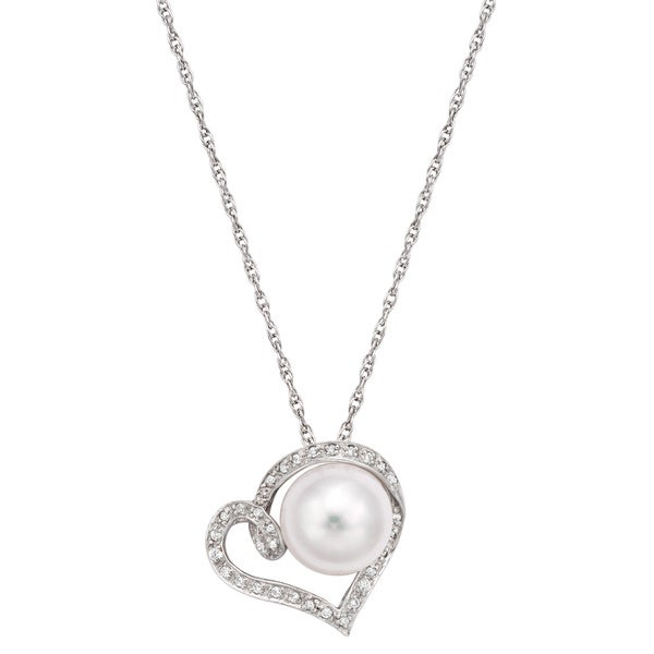 Pearlyta Sterling Silver Freshwater Pearl and CZ Heart Pendant Necklace 10-11mm