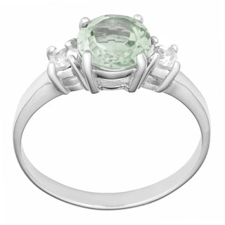 Fremada Rhodium Plated Sterling Silver Green Amethyst and White Topaz Ring