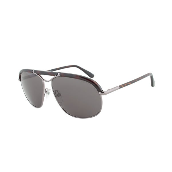Tom Ford FT0234 13A Marco Havana and Gunmetal Framed Aviator Sunglasses with Grey Tinted Lens