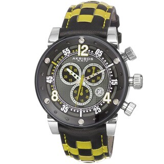 Akribos XXIV Men's Quartz Chronograph Checkered Leather Strap Watch