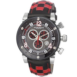 Akribos XXIV Men's Quartz Chronograph Checkered Leather Strap Watch