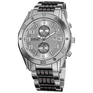 August Steiner Men's Embossed Dial Day/Month Water Resistant Bracelet Watch