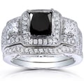 Annello 14k Gold 2 4/5ct TDW Black and White Diamond Bridal Rings Set (H-I, I1-I2)