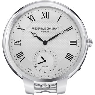 Frederique Constant 208MC7TC6 FC-208MC7TC6 'Clock' Silver Dial Dual Time Desk Clock