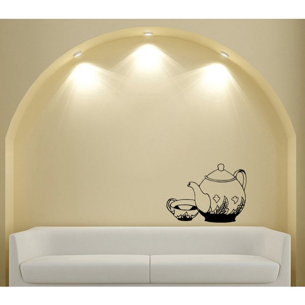 Tea Kettle and Cup Vinyl Wall Decal