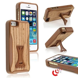 BasAcc Wood Grain Sound Boost Cover Case with Stand for Apple iPhone 5/ 5S