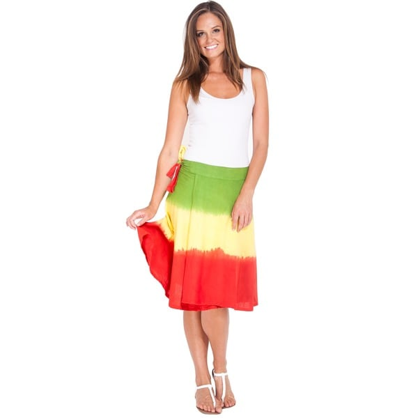 Women's Tie-dyed Rasta Wrap-around Skirt (Nepal)