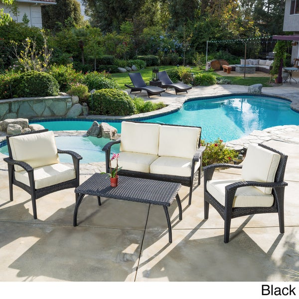 Christopher Knight Home Honolulu Outdoor 4 Piece Wicker Seating Set And Cushions Overstock