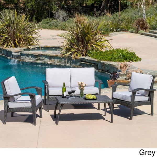 Christopher Knight Home Honolulu Outdoor 4 piece Wicker Seating Set and Cushions