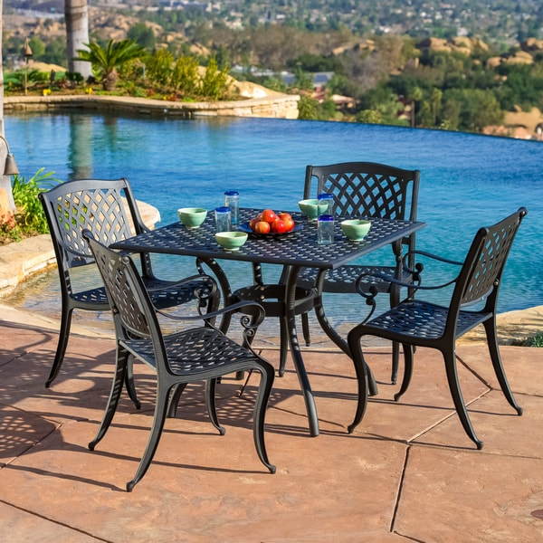 Five Piece Cast Aluminum Black Sand Patio Dining Set