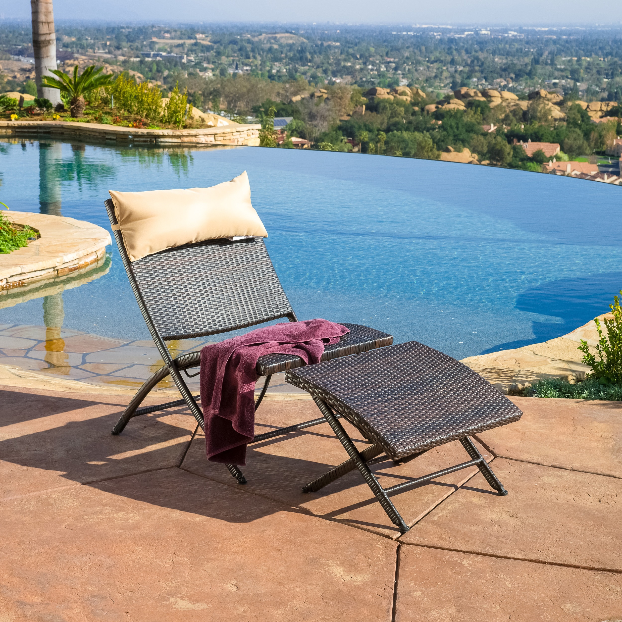 Lionel Outdoor Wicker Lounge Chair and Ottoman Set with