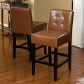 Christopher Knight Home Brinkley Tufted Leather Counter Stools (Set of 2)