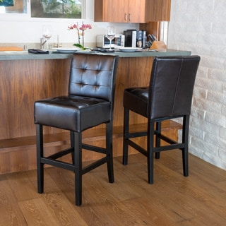 Christopher Knight Home Bennette Espresso Leather Bar Stool (Set of 2)