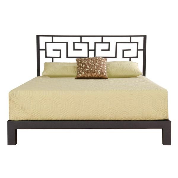 Greek Key Black Headboard and Aura Black Platform Bed