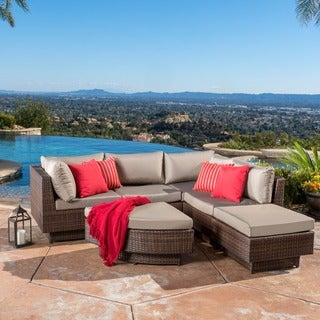 Christopher Knight Home Branson Outdoor Four Piece Multibrown Wicker Sofa Set