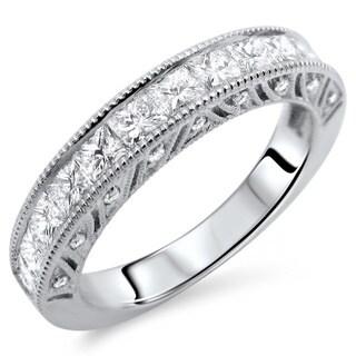 18k White Gold 1 1/3ct TDW Princess-cut Diamond Wedding Band (E-F, VS1-VS2)