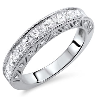 18k White Gold 1 1/3ct TDW Princess-cut Diamond Wedding Band (E-F, VS1-VS2)