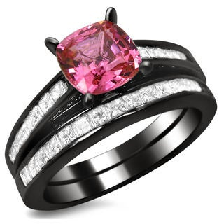 14k Black Gold 1ct TDW Cushion-cut Diamond and Pink Sapphire Engagement Ring Bridal Set (G-H, SI1-SI2)