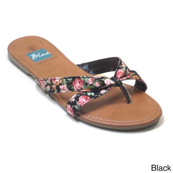 Blue Women's 'Tokyo' Strappy Flat Sandals