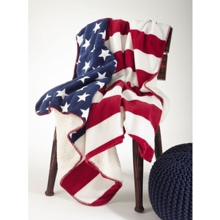 US Flag Design Sherpa Throw Banket